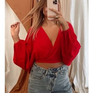 Monica Bubble Sleeve Red Crop